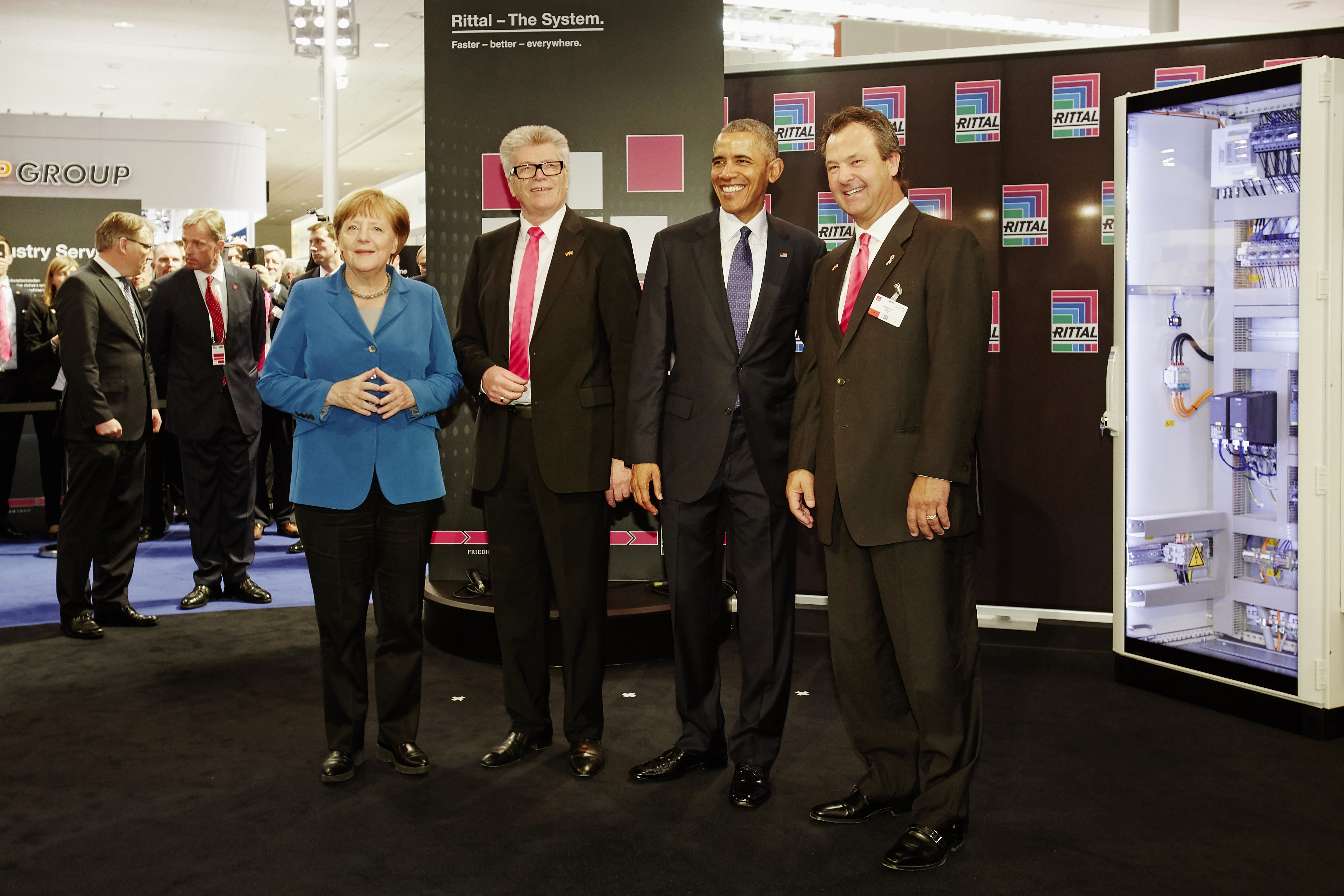 In Photo: German Chancellor Angela Merkel Rittal Chief Executive Officer and Owner Dr. Friedhelm Loh Barack Obama, President of the United States of America Gregg Holst, President of Rittal North America